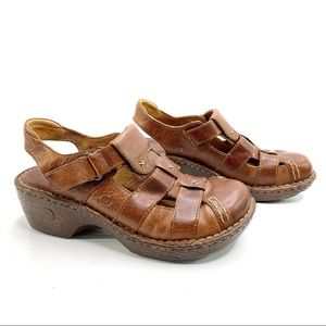 BORN Vented Brown Leather Closed Toe Sandals